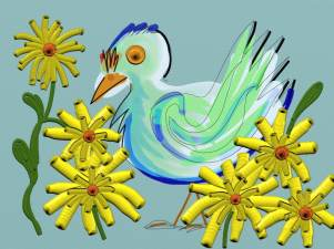 Judy: Birds and yellow flowers always make me smile. This bird is my own creation. Again, because I am traveling my iPad is getting lots of use and I am having fun learning it.